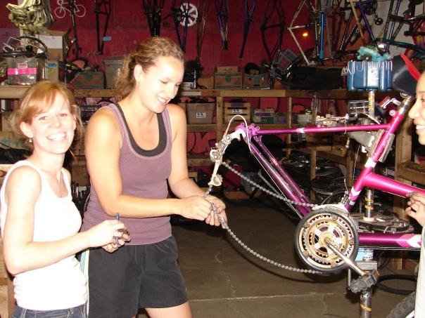 Working on bikes for the homeless at the Kickstand
