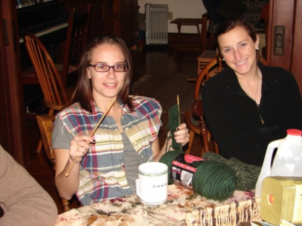 Alexandria knitting, Maegan during down-time tea at Brigade