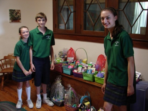 St. Pat's students with Easter baskets