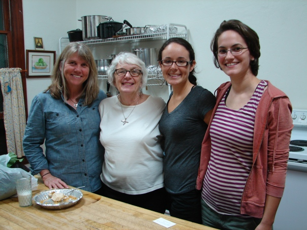Author Rosalie Riegle (in white shirt) with Kelli, Vickie and Gloria.